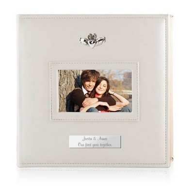 Personalized White 4x6 Photo Album with Silver Claddagh