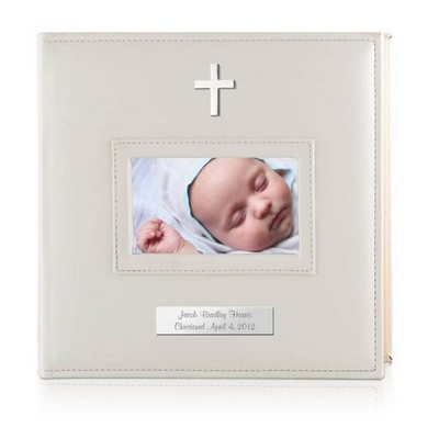 Personalized White 4x6 Photo Album with Silver Cross