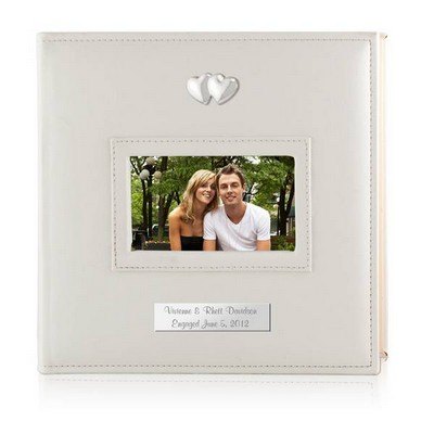 Personalized White 4x6 Photo Album with Silver Hearts