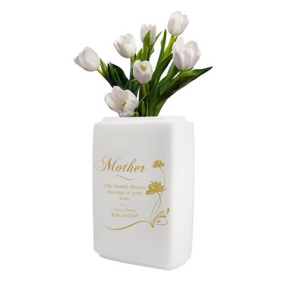 Personalized White Ceramic Vase for Mom