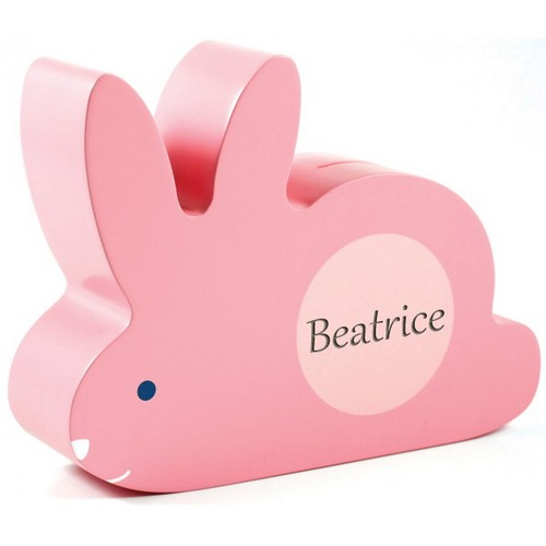 Personalized Wooden Bunny Piggy Bank