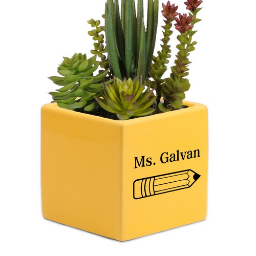 Personalized Yellow Ceramic Succulent Vase for Teachers Desk