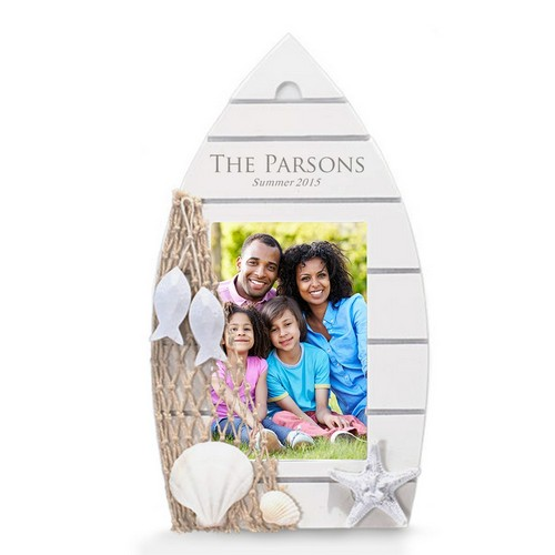 Personalized Family White Wood Boat Picture Frame