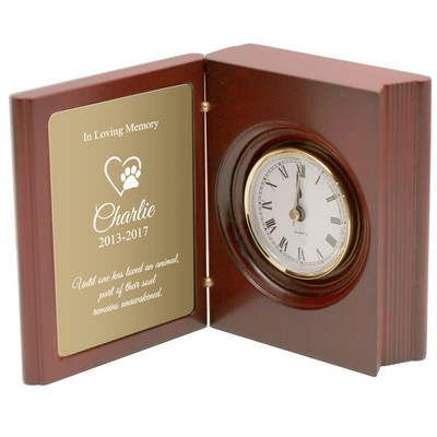 Pet Memorial Book Clock with Brass Plate