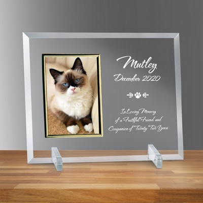 "Pet Memorial Glass Vertical 4"" X 6"" Personalized Photo frame"