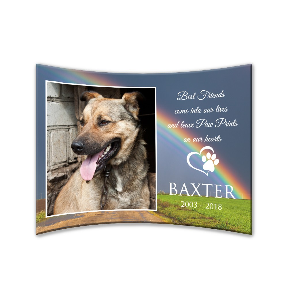 Personalized Pet Memorial Curved 5 X 7 Acrylic Photo Panel
