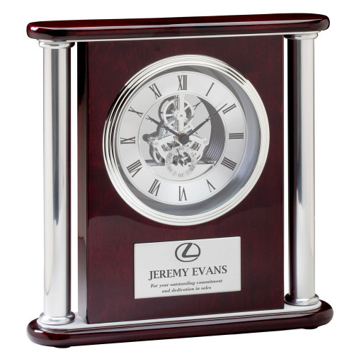 Piano Finish Anniversary Rosewood Clock with Logo