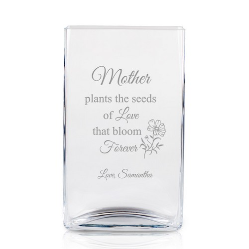 Plant the Seeds of Love Rectangular Glass Vase for Mom