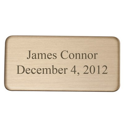 Polished Brass Rounded Rectangle Engraving Plate 1 x 2