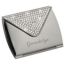 Ladies Purse Shaped Silver Compact Mirror