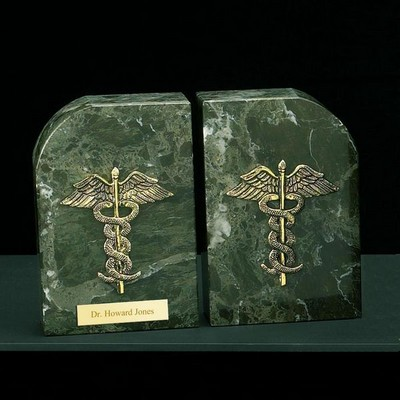 Gold Plated Medical Marble Bookends