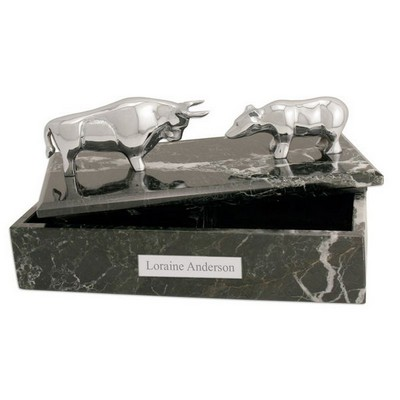 Black Marble Stock Market Box with Silver Bull and Bear