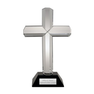 Crystal Cross on Black Crystal Base