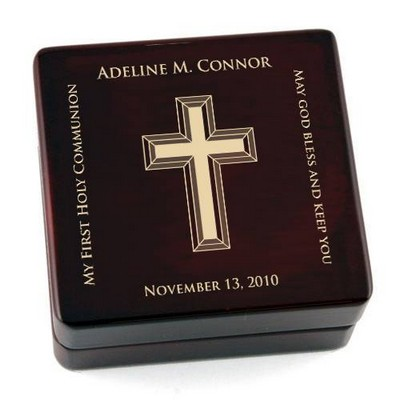 Personalized Contemporary First Communion Wooden Rosary Box
