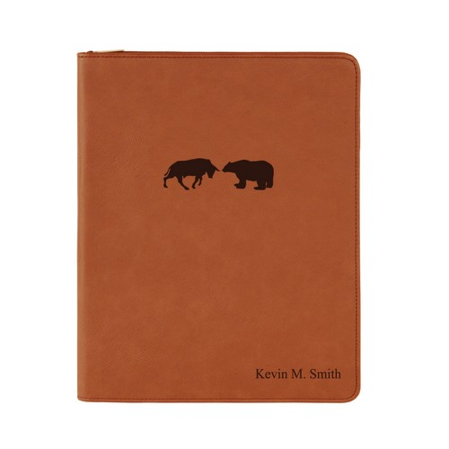 Rawhide Leatherette Personalized Bear and Bull Portfolio