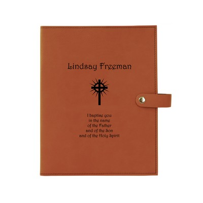 Rawhide Leatherette Personalized Bible Book Cover with Snap Closure