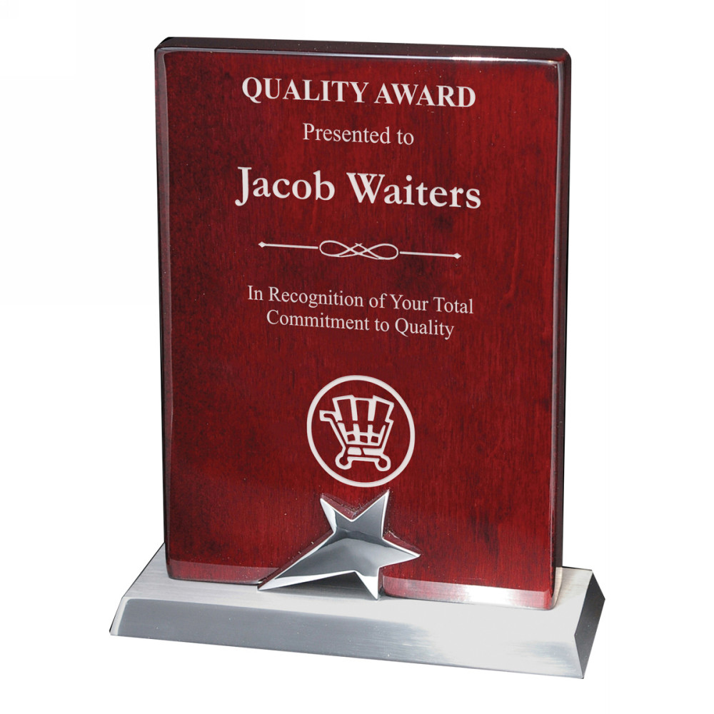 rising star company logo recognition award plaque