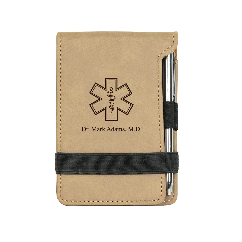 Rod of Asclepius Light Brown Leatherette Personalized Notepad with Pen