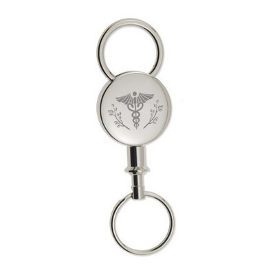 Round Silver Detachable Key Chain with Caduceus