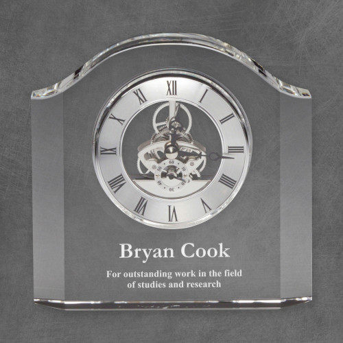 Rounded Edge Personalized Crystal Clock