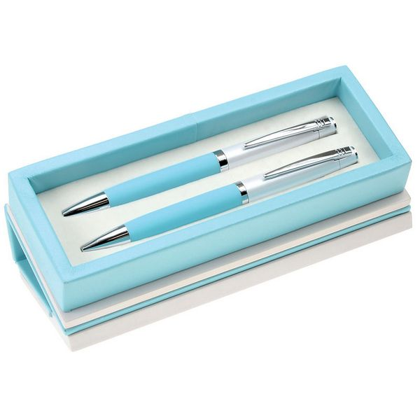 silver pearl pen and pencil set with colored grip