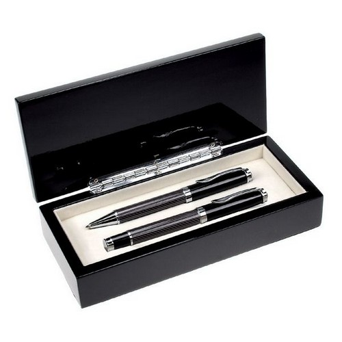 Carbon Fiber Finish Executive Double Pen Set