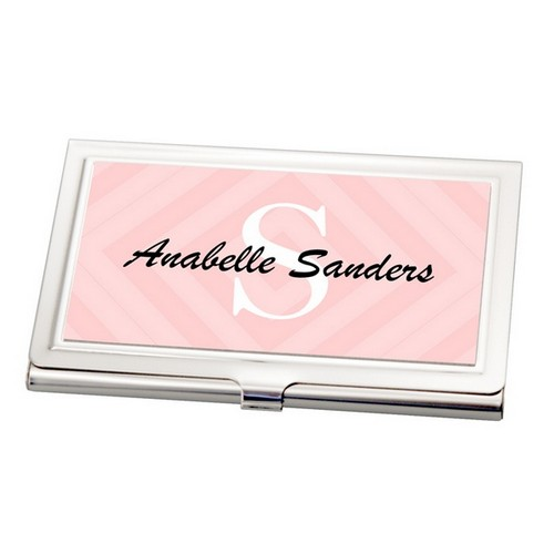 Pink Personalized Business Card Holder