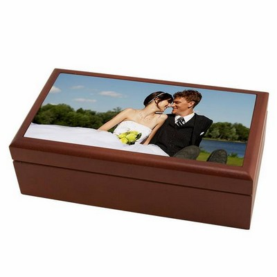 Dark Wood Photo Keepsake Box