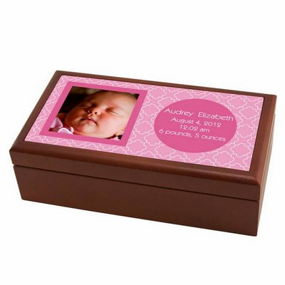 Modern Birth Record Keepsake Box in Pink