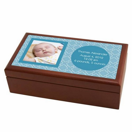 Modern Birth Record Keepsake Box in Blue