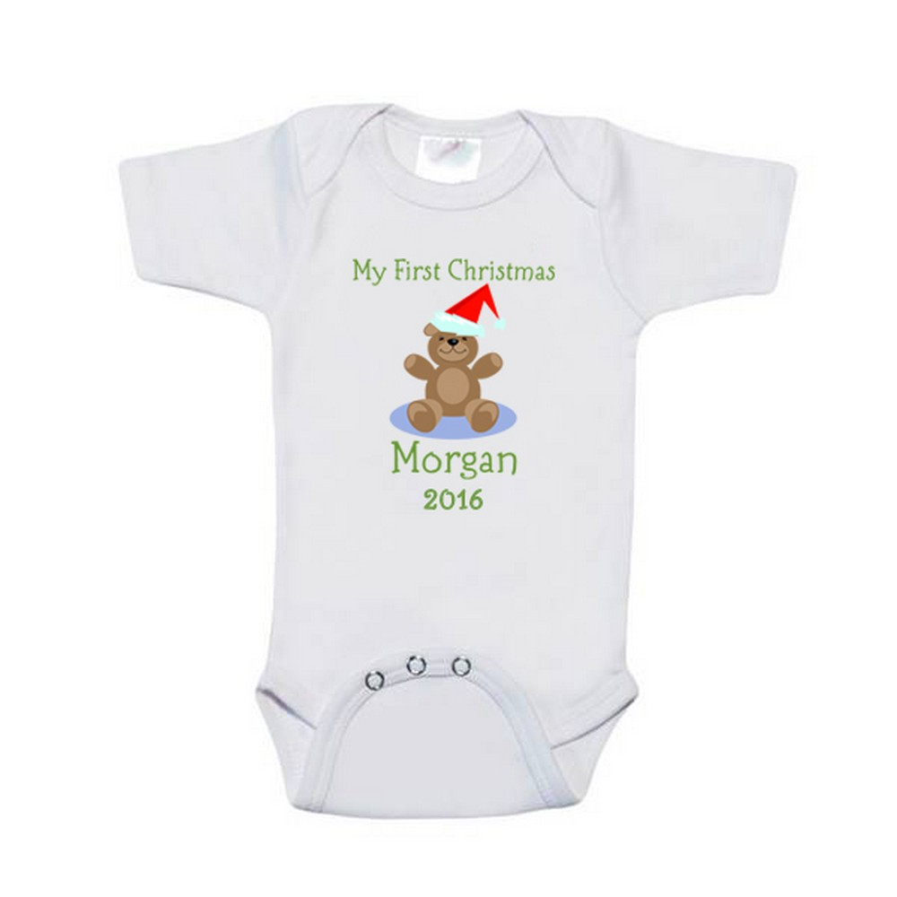 ddeab2116 Babys First Christmas Personalized Bodysuit