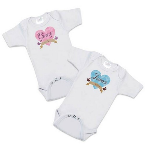 Loving Birdies Personalized White Baby Bodysuit