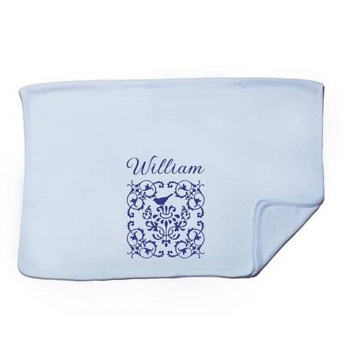 Personalized Elegant Blue Baby Receiving Blanket