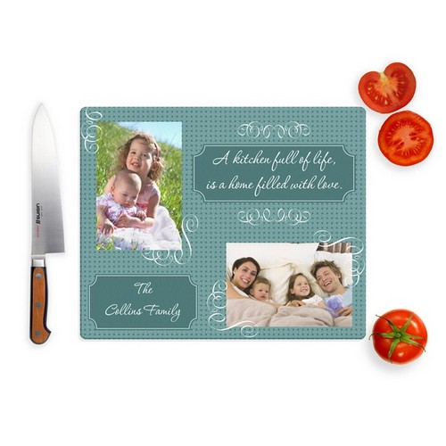 Home Filled With Love Photo Glass Cutting Board