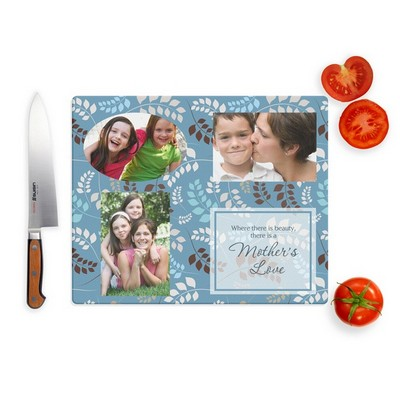 Mothers Love Photo Collage Glass Cutting Board