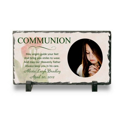 Personalized Communion Photo Slate Plaque