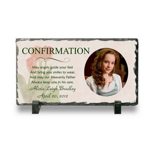 Personalized Confirmation Photo Slate Plaque