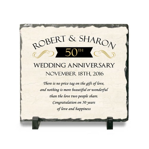 50th Wedding Anniversary Personalized Stone Plaque