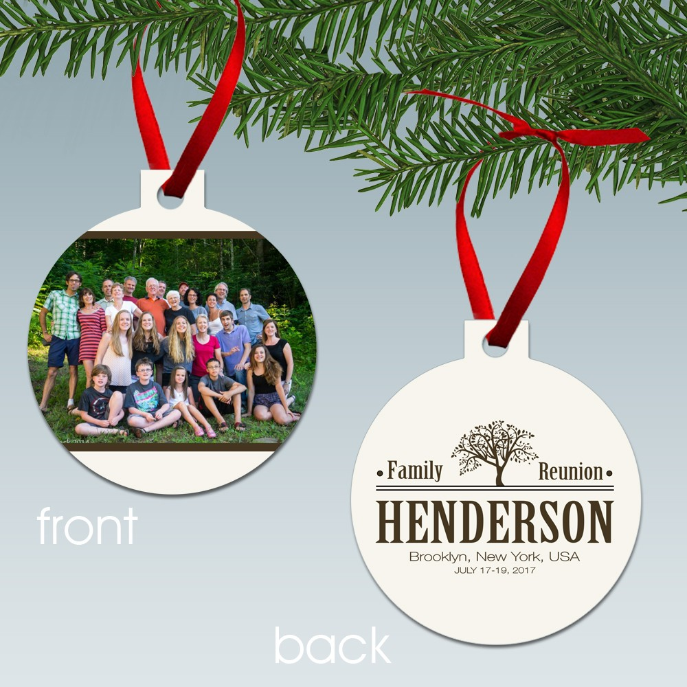 Personalized family reunion photo ornament