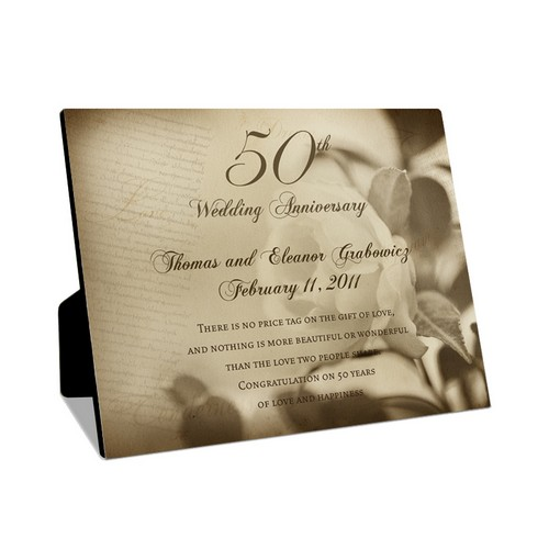 50th Wedding Anniversary Personalized 8x10 Photo Panel with Easel
