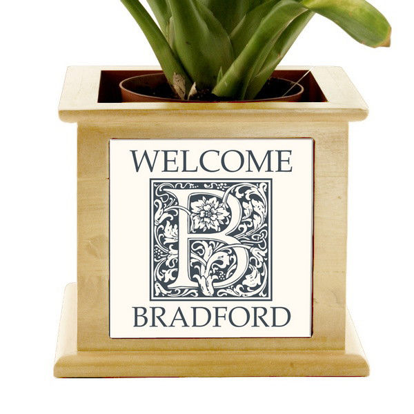 Monogram Welcome Wooden Planter