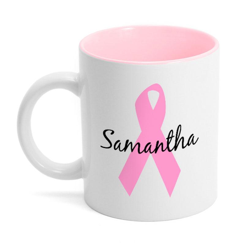pink ribbon breast cancer mug