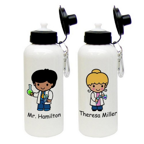 Custom Character Science Lover Aluminum Water Bottle