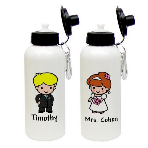 Custom Character Bride or Groom Aluminum Water Bottle