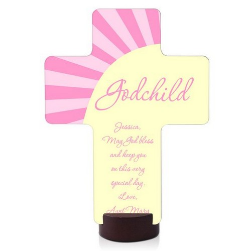 Pink Godchild Wall Cross