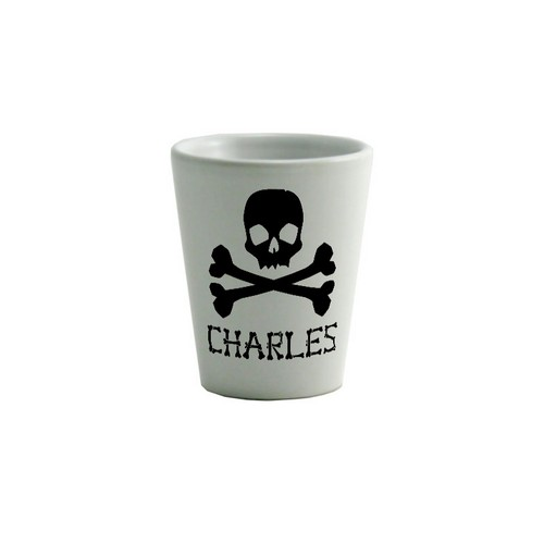 Skull and Crossbones Personalized Name Shot Glass