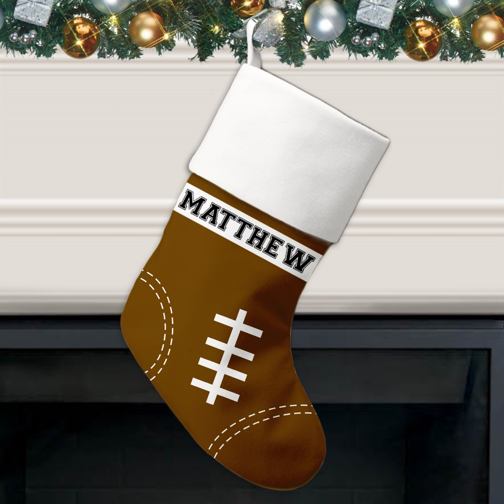 Personalized Christmas Stockings.Football Pattern Personalized Christmas Stocking