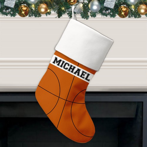 Basketball Pattern Personalized Christmas Stocking