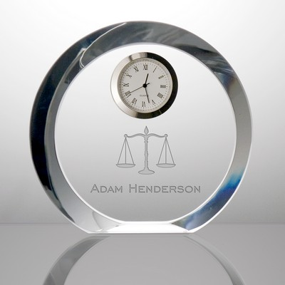Scales of Justice Personalized Crystal Clock