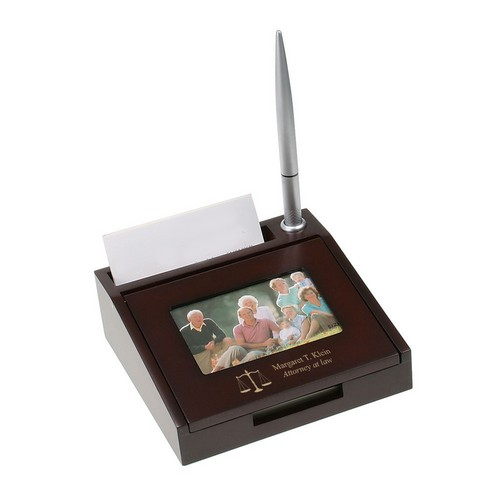 Scales of Justice Personalized Wood Desk Card Holder with Pen and Frame